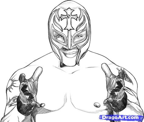 how to draw rey mysterio step by step sports pop