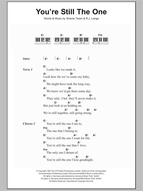 theme song you re still the one you re still the one sheet music direct