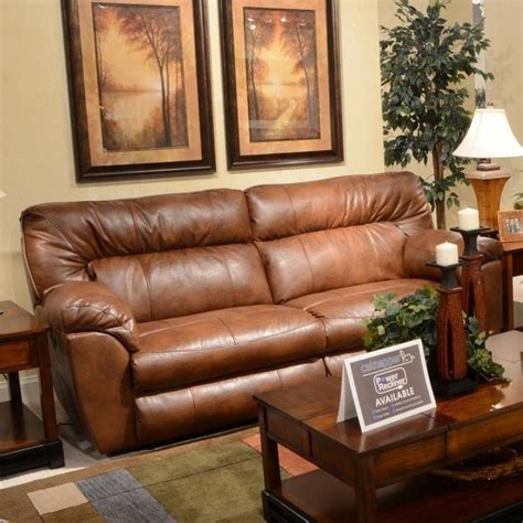 catnapper nolan reclining sofa catnapper nolan leather reclining sofa in chestnut