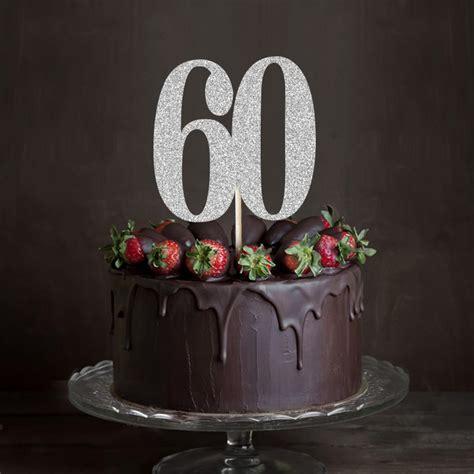 Gold/Silver/Black Glitter 60 Cake Topper,Sixty Anniversary