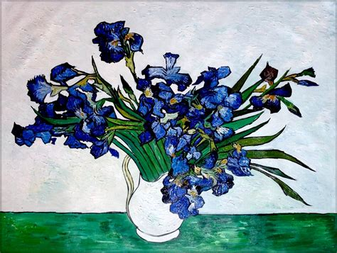 Gogh Irises Vase by Gogh Vase Of Irises Repro Quality Painted