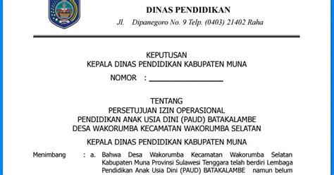 contoh surat permohonan izin operasional sekolah paud wiki edukasi
