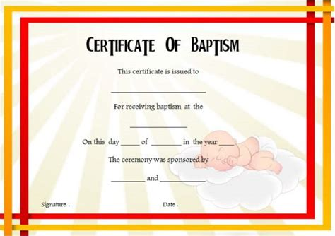 templates for certificates of baptism 30 baptism certificate templates free sles word