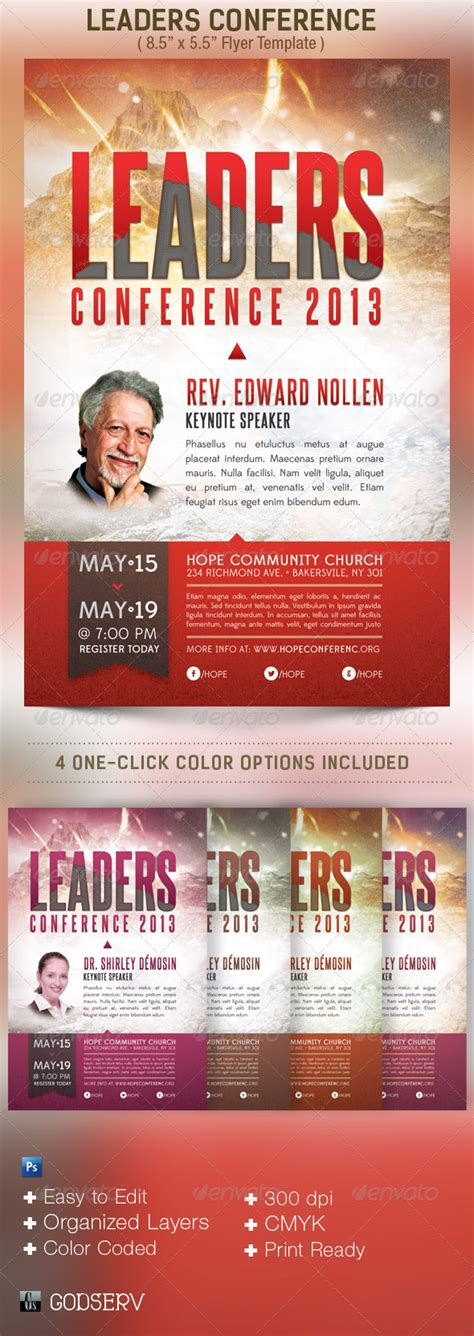 Leadership Conference Church Flyer Template By Godserv Graphicriver Template For Church Flyer
