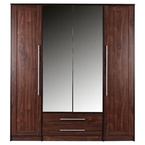 Tesco Direct Wardrobes by Buy Kendal 4 Door Wardrobe With Drawers Walnut Effect