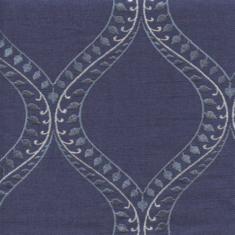 embroidered linen drapery fabric society lake indigo blue embroidered linen drapery fabric
