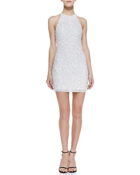 white beaded dress beaded sheath dress white xs in white lyst
