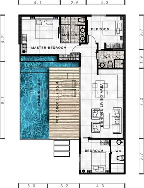 home blueprint design lay4524 tropical modern villa with 3 bedrooms phuket