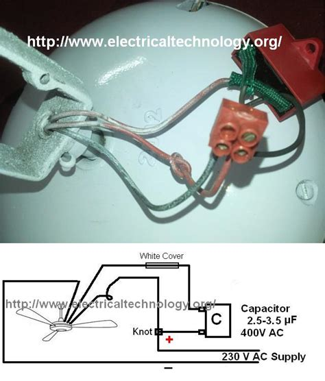 Electrician Cost To Install Ceiling Fan by How To Connect Install A Capacitor With A Ceiling Fan