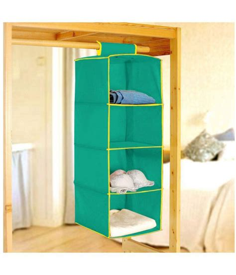 Wardrobe Organisers by Pindia Fancy And Foldable Green Non Woven 4 Layer Hanging