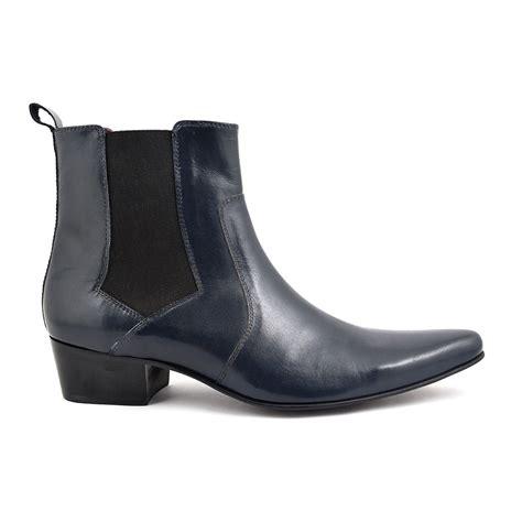 buy mens cuban heel navy chelsea boot gucinari style