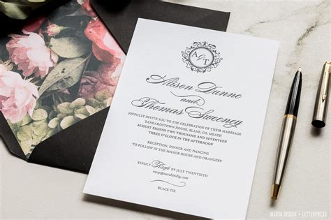 wedding invitation black tie etiquette black tie magva design letterpress