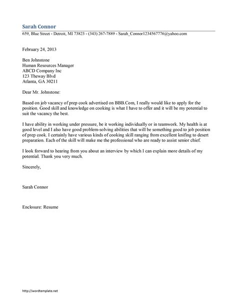 Cook Cover Letters by Prep Cook Cover Letter Template Free Microsoft Word Templates