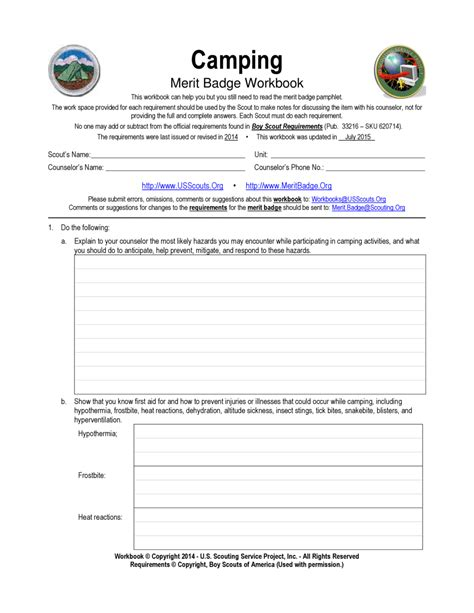 pictures boy scout cing merit badge worksheet getadating
