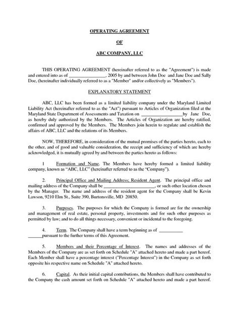 c corporation operating agreement template basic llc operating agreement by jmcinerny llc