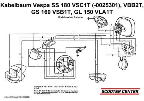 kabelbaum vespa vespa 150 vbb2t ss180 vsc1t modelle