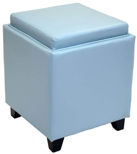 Rainbow Sky Blue Bonded Leather Storage Ottoman With Tray Storage Ottoman Blue