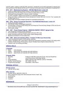 Power Plant Engineer Sle Resume by Cv Of Diego Calandrino Renewable Energy Consultant Senior Project