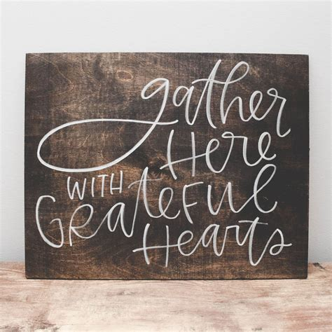 quote signs home decor gather here wood sign grateful heart wood signs and