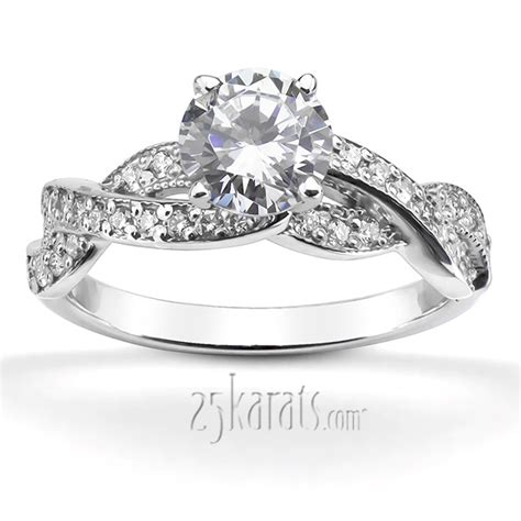 infinity engagement ring set infinity shank pave set engagement ring 0 54ct tw