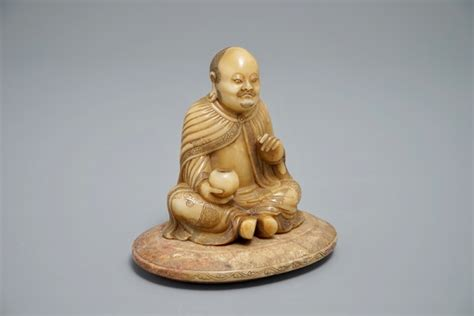 Soapstone Figures For Sale - a carved shoushan soapstone figure on inscribed