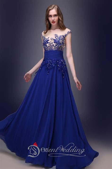 Instock Prom Gowns Cheap Royal Blue Chiffon Sleeveless vestido De Festa Appliques Long Evening