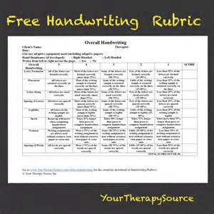 overall handwriting rubric your therapy source