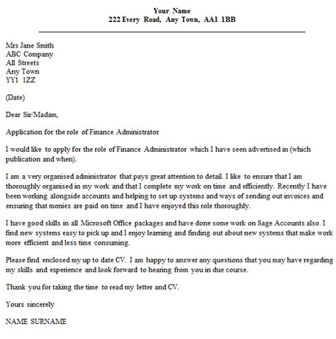 finance administrator cover letter icoverorguk
