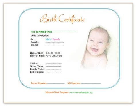 word templates for birth announcements birth certificate template http www savewordtemplates