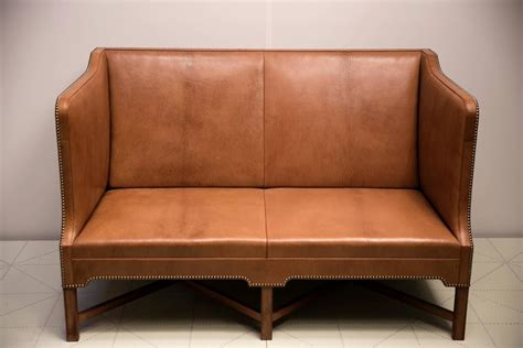Two Person Loveseat 2 1 2 Person Sofa In Goatskin On Cuban Mahogany