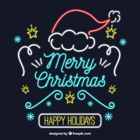 merry christmas  happy holidays  neon vector