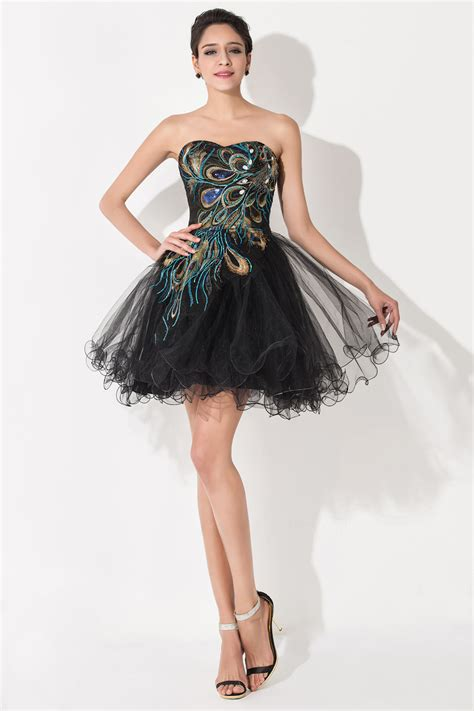 design homecoming dress sexy black sweetheart short tulle homecoming dress peacock
