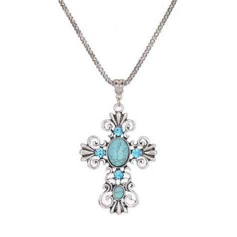 turquoise silver cross necklace for