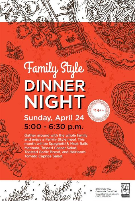 Family Style Dinner Food Event Flyer Poster Template Dinner Events Dinner Series Pinterest Dinner Poster Template