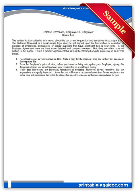Release Letter From Previous Employer Free Printable Release Covenant Employee Employer Form Generic