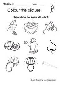 color the picture that begins with letter n home