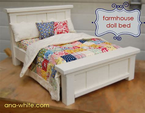 diy american girl doll bed ana white doll farmhouse bed diy projects