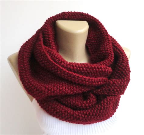 burgundy knit scarf burgundy knitted infinity scarf knit scarf infinity