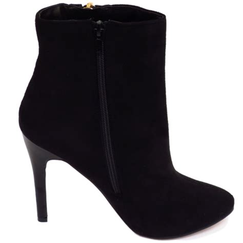 Zip Up High Heel Ankle Boots dolcis black zip up high heel chelsea ankle work