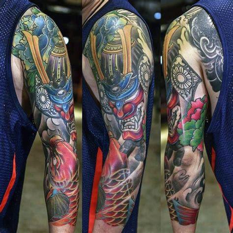koi tattoo with samurai man with bold samurai mask and koi carp full sleeve tattoo