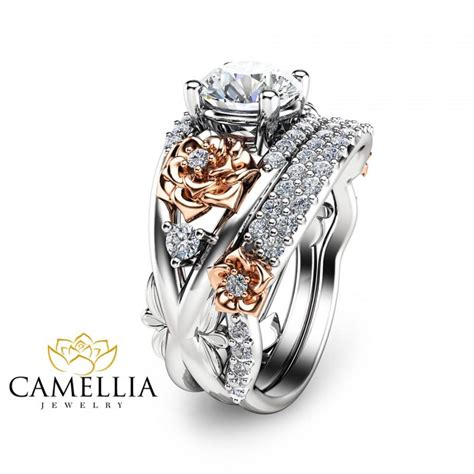 engagement ring and band 14k two tone solid gold