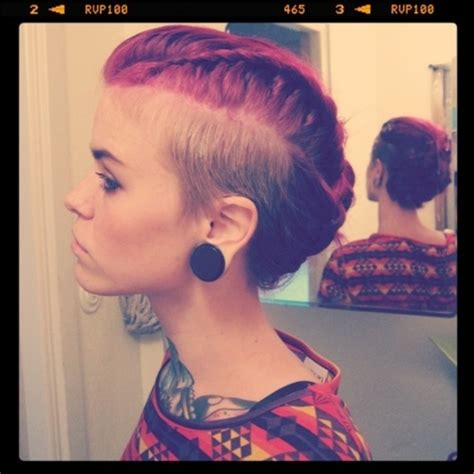 braid mohawk with shaved sides shaved side with long braided updo my style pinterest