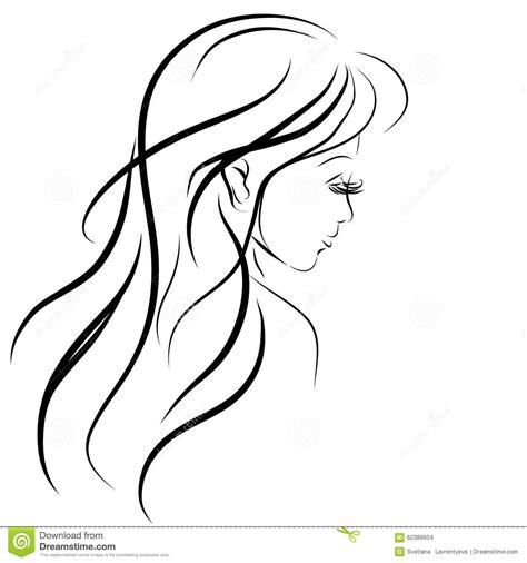 sketchbook vector sketch of a with hair stock vector