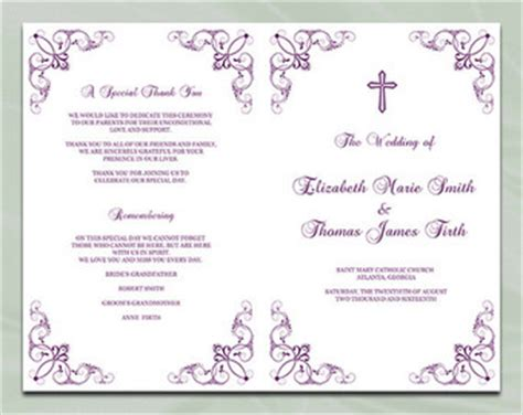 half fold wedding program template catholic wedding program template silver by