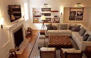 Family room design with tv over fireplace