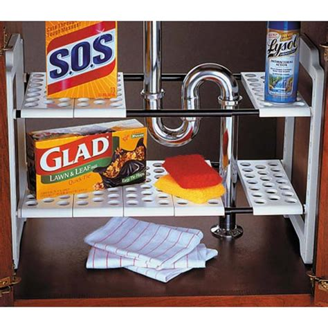 expandable sink storage shelf in sink organizers