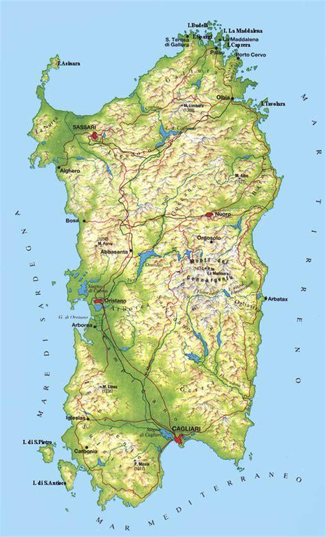 sardinia map sardinia cagliari southern regions
