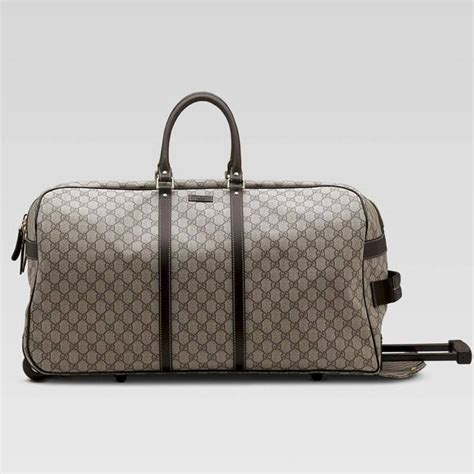 gucci gg monogram brown canvas duffle rolling luggage carry on travel bag at 1stdibs