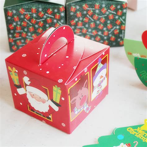 handheld cheese cake boxes red santa merry christmas bulk