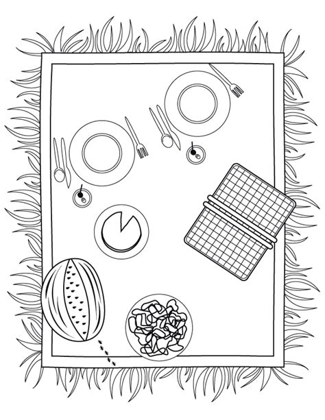 picnic basket coloring page coloring home